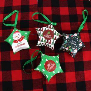 Рождественский подарочные коробки Санта-Клаус Candy Box Star Shape Merry Christmas Коробка Сумка Главного Новый год Xmas Декор Дети Подарки GGE1876