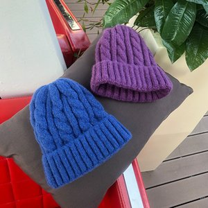 Luxury-Women Beanies Girl winter hat Candy Colors Hats Thick Warm Bonnet Beanie Soft Knitted Beanies Cotton Twist Pattern Caps
