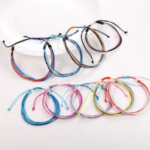 Wax Thread Woven Bracelets Handmade Multilayer Woven Friendship Bracelet Wax String Bracelets Multicolour Adjustable Braided 100 L2