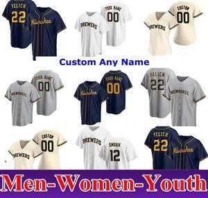 2020 Milwaukee Hommes Femmes Enfants 22 Christian Yelich Josh Hader Woodruff Lorenzo Caïn Ryan Braun Brent Sutter Arcia Brewers Brewers Baseball Maillots de baseball