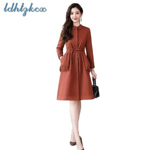 LDHTZKCX Color sólido Talla grande Tronco de manga larga Mujer 2018 Otoño New Office Lady Slim Long Bow Pockets Winderbreaker CX2921
