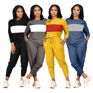 Designer women tracksuit long sleeve pantsuit outfits shirt 2 piece set skinny tights sport suit pullover pants hot selling