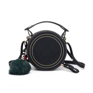 DAUNAVIA Women Handbags Round Crossbody Bags Rivet Pu Leather Messenger Bags Purse Ladies Shoulder Bag Circle Cute Pendant