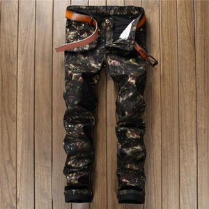 Men Jeans Pants Slim Fit Hot Sale Hand-painted Printed Pants Casual Trousers Nightclub Tight Black Male Clothing 2020