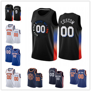 Custom Men's RJ 9 Barrett 1 Obi Toppin Jersey Alec 18 Burks Julius 30 Randle Mitchell 23 Robinson Frank 11 Ntilikina City Basketball Jerseys