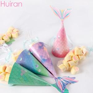 Huiran Mermaid Şeker Kutusu Kağıt Torbaları Kızlar Için Hediyeler Için Mermaid Doğum Günü Partisi Hediye Kutuları Çocuklar Kağıt Torba Düğün1