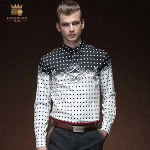 FanZhuan Free Shipping New 2020 male long sleeved men's fashion casual spring Totem Printed round Dot shirt 15202 blouse