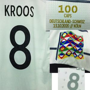 2020 Match Worn Player Problema Kroos 100 Caps juego Memory Memory Maillot con detalles de partido Fútbol Camisa de fútbol American College Football