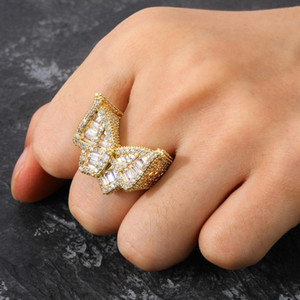Fashion Ice Out HIP-hop zircon Butterfly ring Quality Jewellery Gold Sliver-colorMicro Paved ring for Man Women Gift