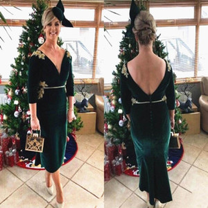 Dark Green Velvet Mother of the Bride Dress Short Tea Length V Neck Backless Half Sleeve Evening Prom Wedding Party Gowns Plus Size