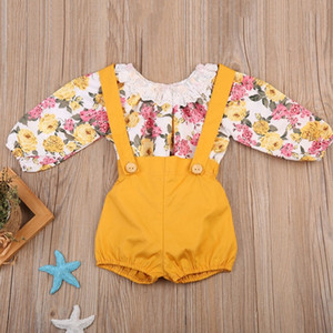baby girls clothing set toddler infant girl clothes T shirt top pants romper ruffles princess outfits 6-24m Y200803