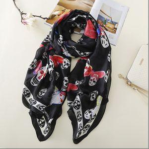 OLOME Vintage Black Skull Scarf Female Ladies Butterfly Print Grey Beach Scarves Shawls Women Stoles Hijab Foulard Y201007
