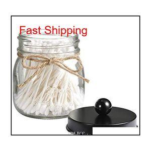 Regular Mason Jar Bathroom Apothecary Jars Vanity Organizer- Rustic Farmhouse Decor Matte Black Canister Glass For Cotton Swabs - No Bci6O