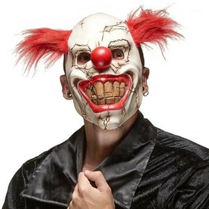 Horror Red Nose Coiffure Masque Cosplay Cosplay Scary Démon Démon Devil Grande bouche Bouche Half Visage Masques de latex Halloween Costumes de fête Props1
