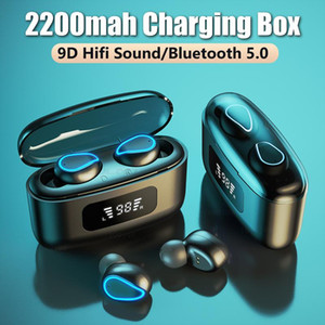 TWS Bluetooth 5.0 Earphones With Mic Sport Waterproof Headsets 2200mAh Charging Case Music Earbuds Wireless Bluetooth Headphones