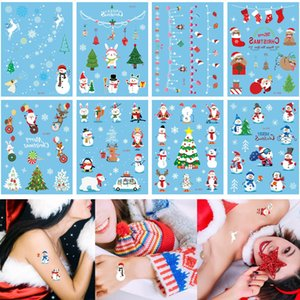 Merry Christmas Tattoo Sticker Cute Santa Claus Snowman Tree Snowflake Gift Design Cartoon Temporary Waterproof Body Tattoo for Kid Boy Girl