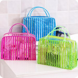 PVC Transparent Cosmetic Bags Womens Travel Waterproof Clear Wash Organizer Pouch Beauty Makeup Case Beach Cosmetics Tote