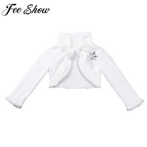 Cute long sleeves flower girls faux fur cloaks cape winter warm jacket wrap kids bolero for wedding princess outwear coat LY191225