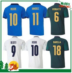 Itália 2020 2021 Jersey de futebol Home Away Jorginho El Shaarawy Bonucci Insigne Bernardeschi Homens Adultos + Kit Kit Kit Camisas de futebol