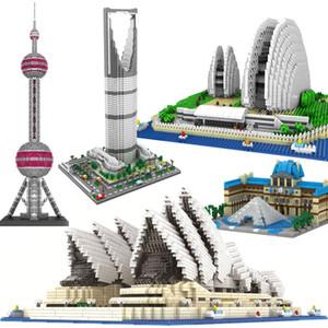 الماس نموذج اللبنات العمارة Sydney Opera House Big Ben Eiffel Tower London زوج Louvre Micro Construction لعبة C1114