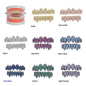 8 Colors Gold Punk Hiphop Multicolor CZ Zircon Vampire Teeth Fang Grillz Diamond Grills Braces Tooth Cap Rapper Jewelry for Cosplay Party