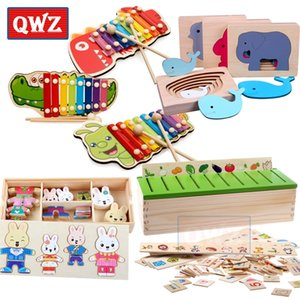 QWZ Montessori Hölzerne Kreatur Cartoon Tier Regenbogen Musik DIY Puzzle Frühe Bildung Spielzeug Kinder Intelligenz Lernen Geschenk Y200428