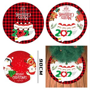 90 centimetri Decorazione albero di Natale gonne a quadri Stampa Carpet Tappeti per alberi di Natale creativo quarantena Famiglia Maschera modello E101205