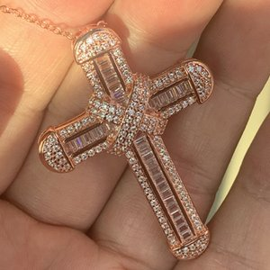 Super Hot Sale Luxury Jewelry 925 Sterling Silver&Rose Gold Fill Full White Topaz CZ Diamond Cross Pendant Women Necklace With Chain Gift