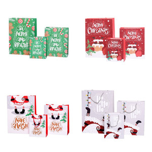 Paper Christmas Gift Bag Cartoon Printed Merry Christmas Shopping Gift Bag Jewellery Cosmetic Stuff Bag with Handle S M L BWA1109