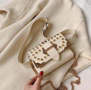 2020 Female Rivet Waist Bag Fashion Women Chest Bag Single Chain Shoulder Crossbody Double Shoulder Strap