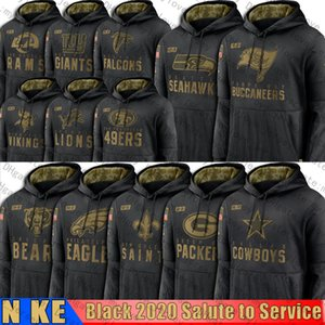 2020 Салют Сервис пуловер Hoodie ДалласковбойPackersСихоукспиратСвятыеВикингиОрлы