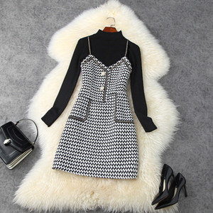 2020 Fall Autumn Long Sleeve Round Neck Black Knitted Top + Spaghetti Strap Houndstooth Panelled Short Dress Two Piece 2 Piece Set LO2211454
