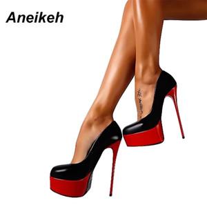 Aneikeh primavera mulheres sexy 16cm extrema salto alto plataforma senhoras bombas stiletto mulher sapatos deslizamento no tamanho 34 - 40 258-90 lj200925