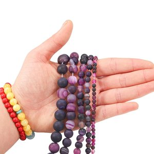 1strand Lot 4 6 8 10 12mm Matte Purple Strips Agates Beads Stone Round Loose Beads For Diy Bracelet Jewelry Makings Supplies H bbyFeH