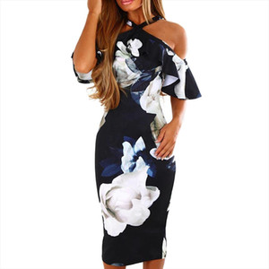 Summer Fashion Sexy Women Printing Cross Off Shoulder Evening Party Empire V Neck Dress Sundress Freeship N4