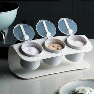La limpieza Baffect plástico del estante de la cocina condimento caja con cuchara especia sacude condimento Tanque de almacenamiento para la sal caramelo salsa de pimienta Especias 201022