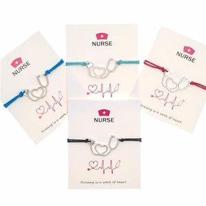 Presente de Natal Infinito Coração da enfermeira Cartão da bênção Pulseira Personalidade estetoscópio ajustável corda pulseiras Vintage Charme Bangle Jewelry
