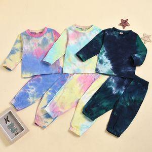 Newborn Baby Boys Clothes Set Tie Dye Print Infant Long Sleeve Sweatshirts Tops+Pants Toddler Girls Sportwear Clothing