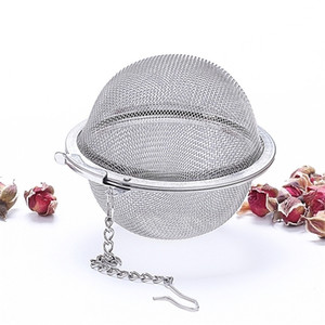 304 Stainless Steel Tea Strainer Pot Infuser Mesh Ball Filter With Chain Maker Tools Drinkware