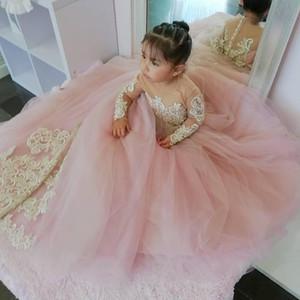 Flower Girl Elegante spettacolo della ragazza Dresse principessa Bow Short Sleeve Dress Prom Abito Piano Lunghezza Graduatioin partito abiti da P20