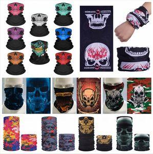 Magia Passeio Headscarf Skull Impresso Bandanas Montar Máscara Máscara Esporte Hip Hop Head Head Neck Face Face LeawsCarves 40 estilos LJJP731