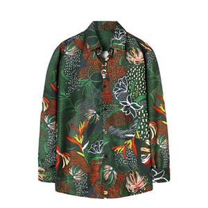 Мужские повседневные рубашки Осень Удобные Мужские рубашки Мода Печать с длинным рукавом Гавайский пляж Slim Fit Vintage Graphic