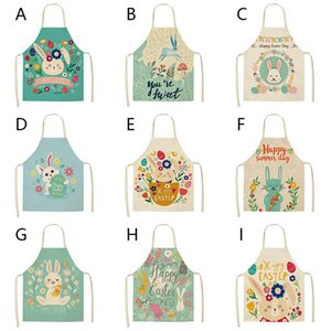 Cartoon Kitchen Apron Cartoon Rabbit Printed Kitchen Easter Aprons for Women Kids Sleeveless Cotton Linen Cooking Cleaning Tools RRD4286