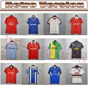 الرجعية 1983 1984 1986 1988 United Soccer Jerseys Man 1990 92 94 UTD Ronaldo Beckham Cantona Keane Scholes مانشستر خمر لكرة القدم قميص