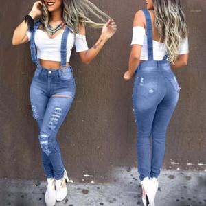 Fashion Washed Denim Bib Bib Jeans Jeans Tuta da jeans in vita alta Jeans Femme Denim Tute Denim Rompere strappati per le donne VAQUEROS1