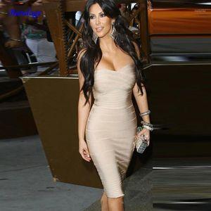 Club Bandage Dress for Women Kim Kardashian 2020 Novas chegadas Sexy Strapless Bodycon Prom Celebrity Party Dress Vermelho Branco Bege1