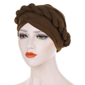 Muslim Women Hair Bonnet Turban Hat Single Twist Braid Head Wrap Solid Color African Female Sleep Caps TB-09A