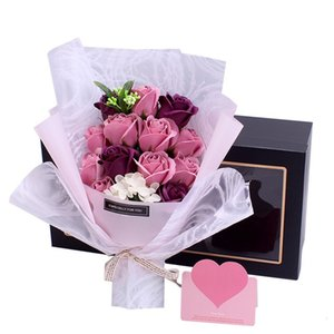 Bouquet Preserved Eternal Soap Red Purple Blue Rose Gift Box Christmas Wedding Valentine Day Home Decor FFB3886