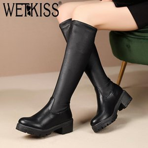 WETKISS Motorcycle Knee High Boots Women Thick Heels Boot Female Platform Stretch Shoes Ladies Round Toe Casual Shoes Winter