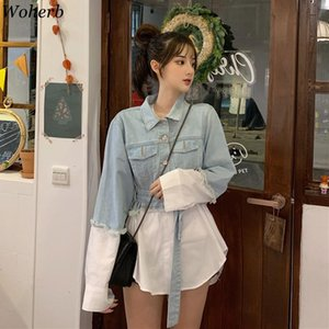 Woherb Blouse Patchwork Denim Jacket 2020 Korean Streetwear Jeans Jacket Chic Style Loose Coats with Belt Chamarras De Mujer